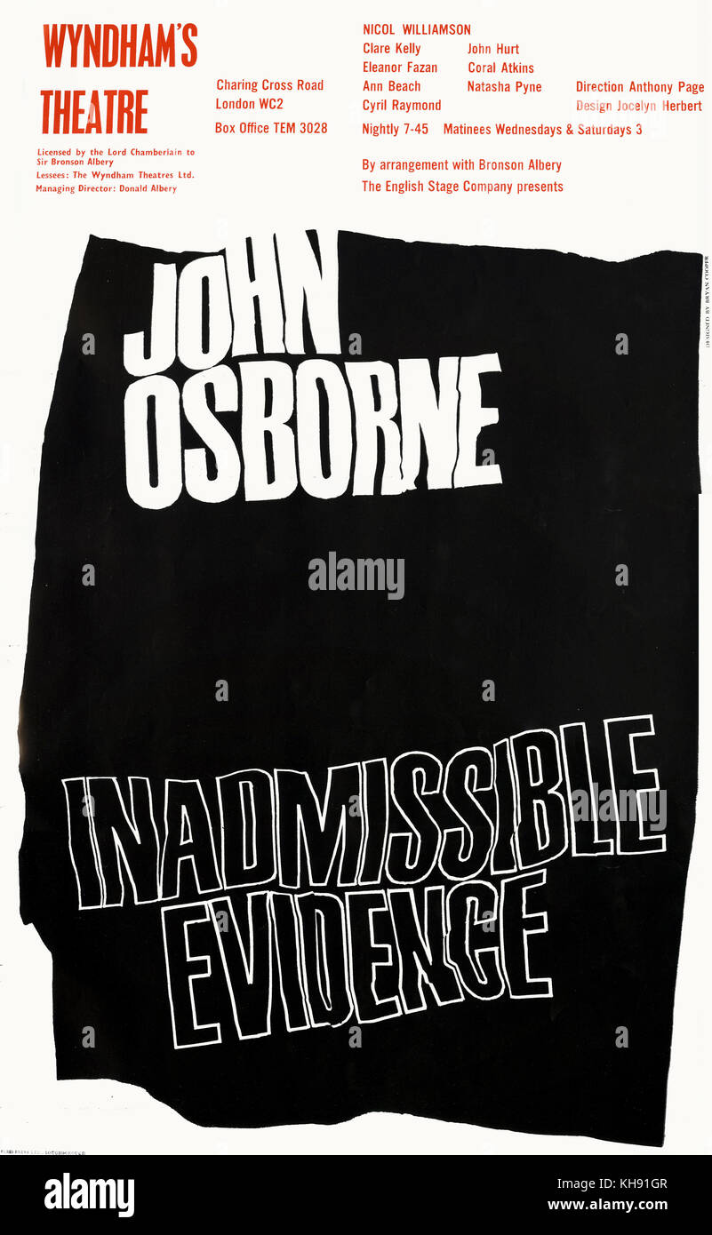 Inadmissible Evidence - play by John Osbourne. Posted for production performed at Wyndham 's Theatre, London, - Stock Image