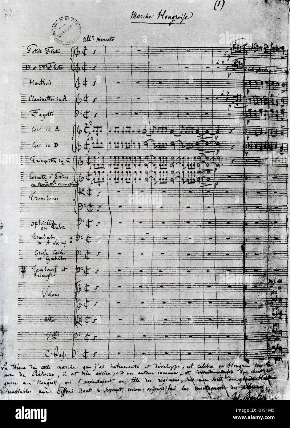 La damnation de Faust by Hector Berlioz. Autographed page of score for 'La marche hongroise' (Hungarian - Stock Image