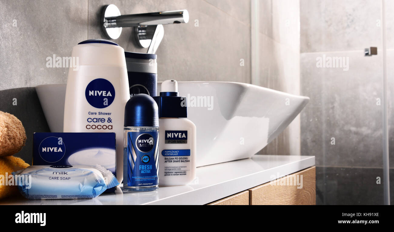 POZNAN, POLAND - NOV 10, 2017: Nivea products, German personal care brand that specializes in skin- and body-care - Stock Image