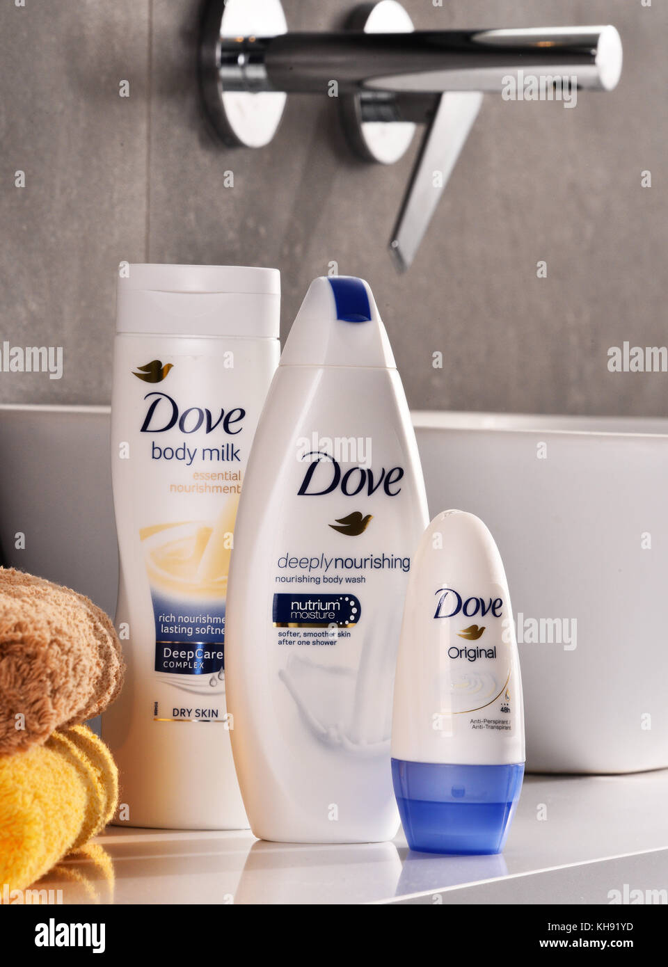 POZNAN, POLAND - NOV 10, 2017: Dove products, a personal care brand, owned by Unilever and sold in more than 80 - Stock Image