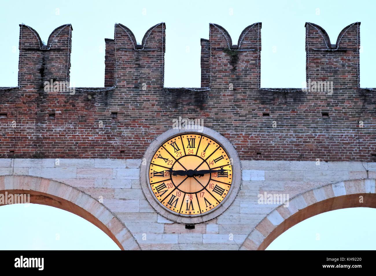 Clock of Portoni della Brà - Stock Image