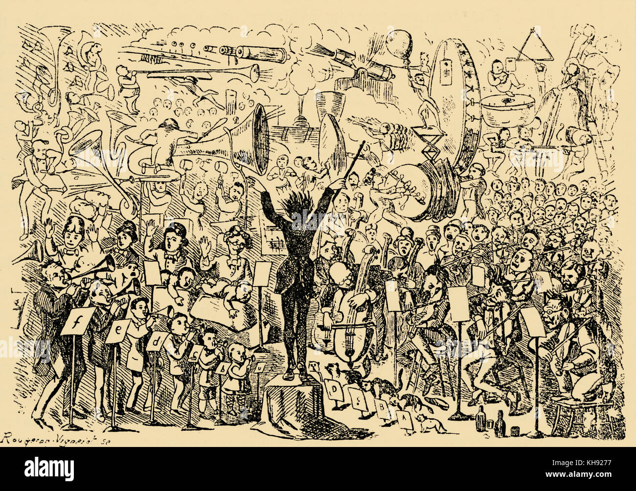 Richard Wagner: Music of the Future.  Swiss caricature on Wagner's essay of 1860s.  Suggesting that Wagner's - Stock Image