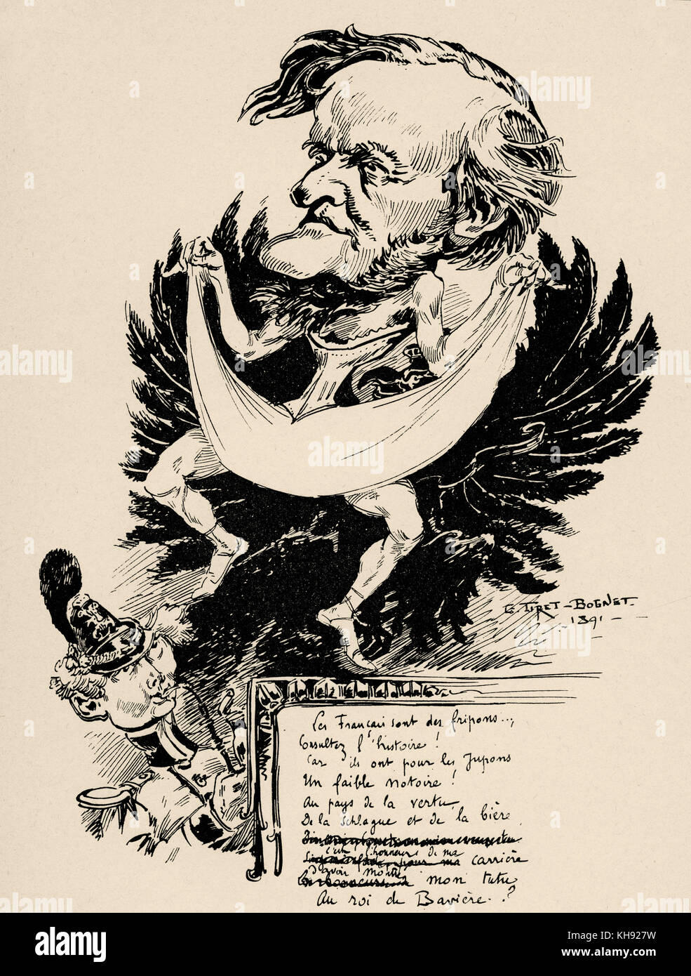 Wagner as a dancer of Munich Court Theatre - caricature by Tiret- Bognet.  RW: German composer & author, 22 - Stock Image