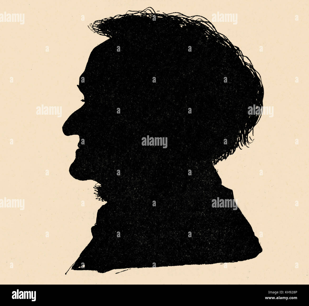 Richard Wagner 's silhouette - from reproduction of a photograph in 1877. RW: German composer & author, - Stock Image