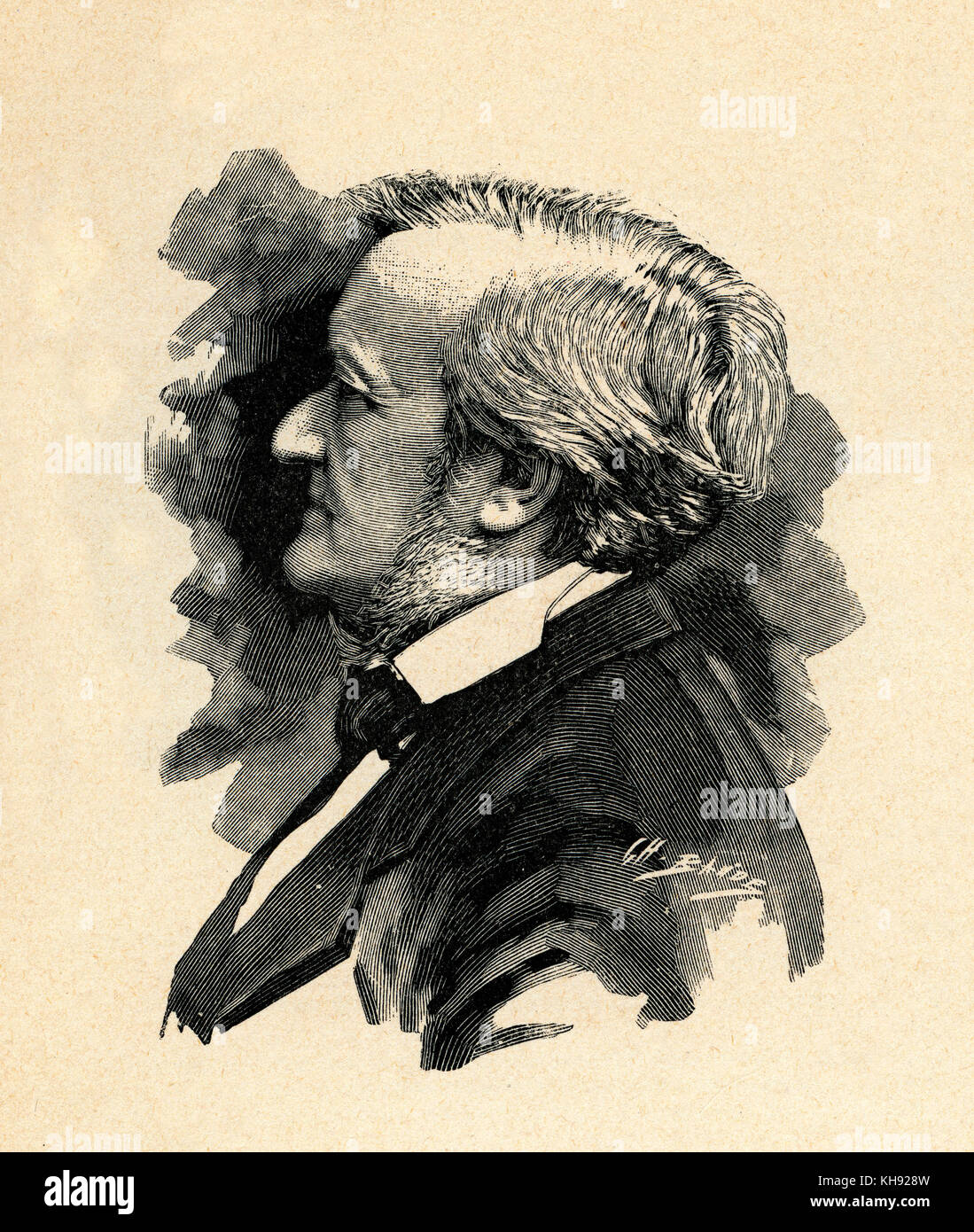 Richard Wagner - wood engraving by Baude after photograph by Elliot et Frey, 1877.  RW: German composer & author, - Stock Image