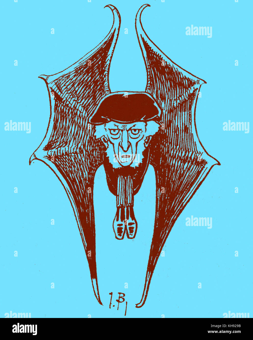 Richard Wagner as a bat - caricature by J. Blass. Caption: 'Wagner se recueillant' ('Wagner meditating'). - Stock Image