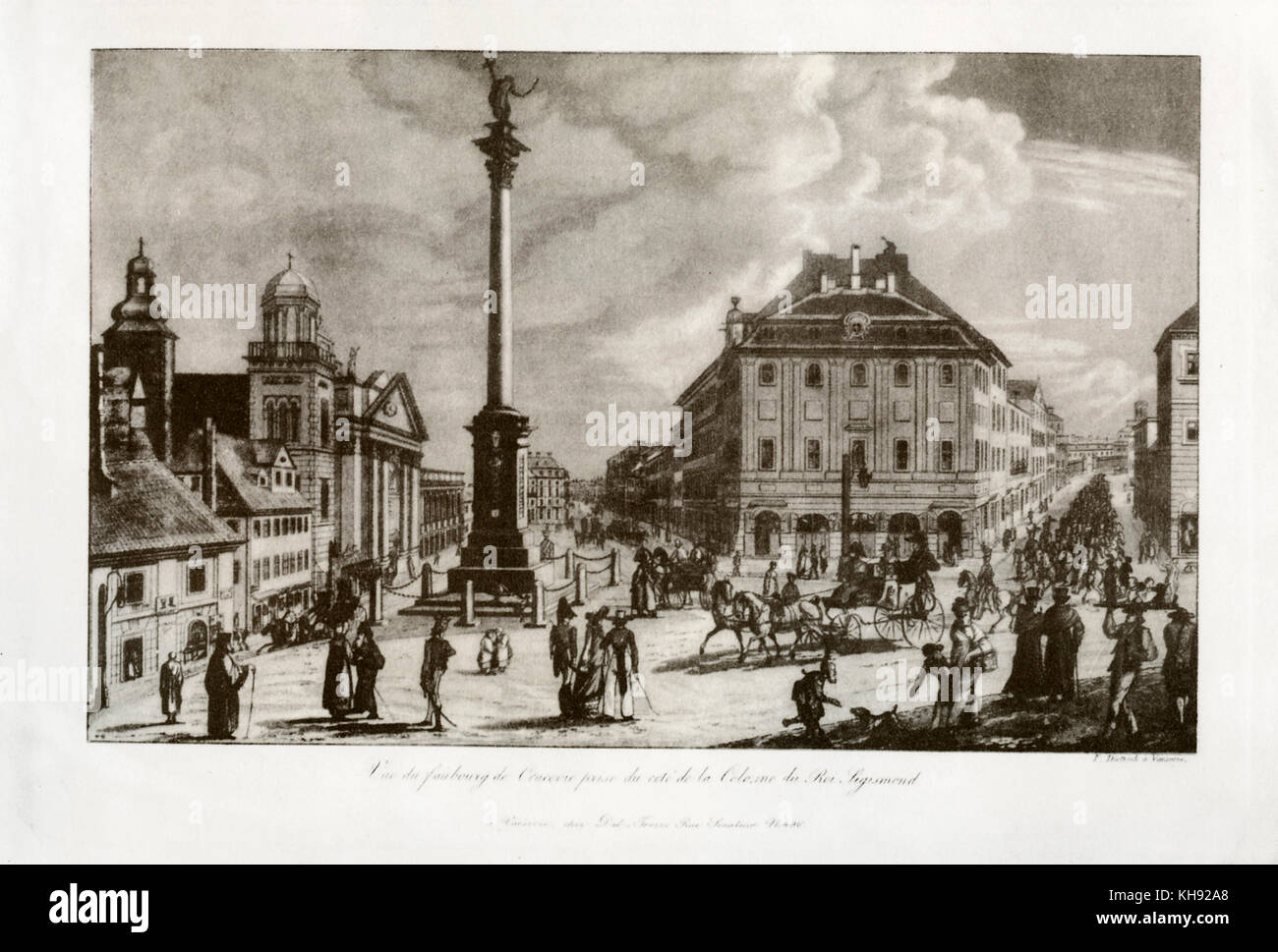 View of Krakowskie Przedmiescie (Krakow Suburb) from the direction of the King Zygmunt Column. Aquatint by Frederyk - Stock Image
