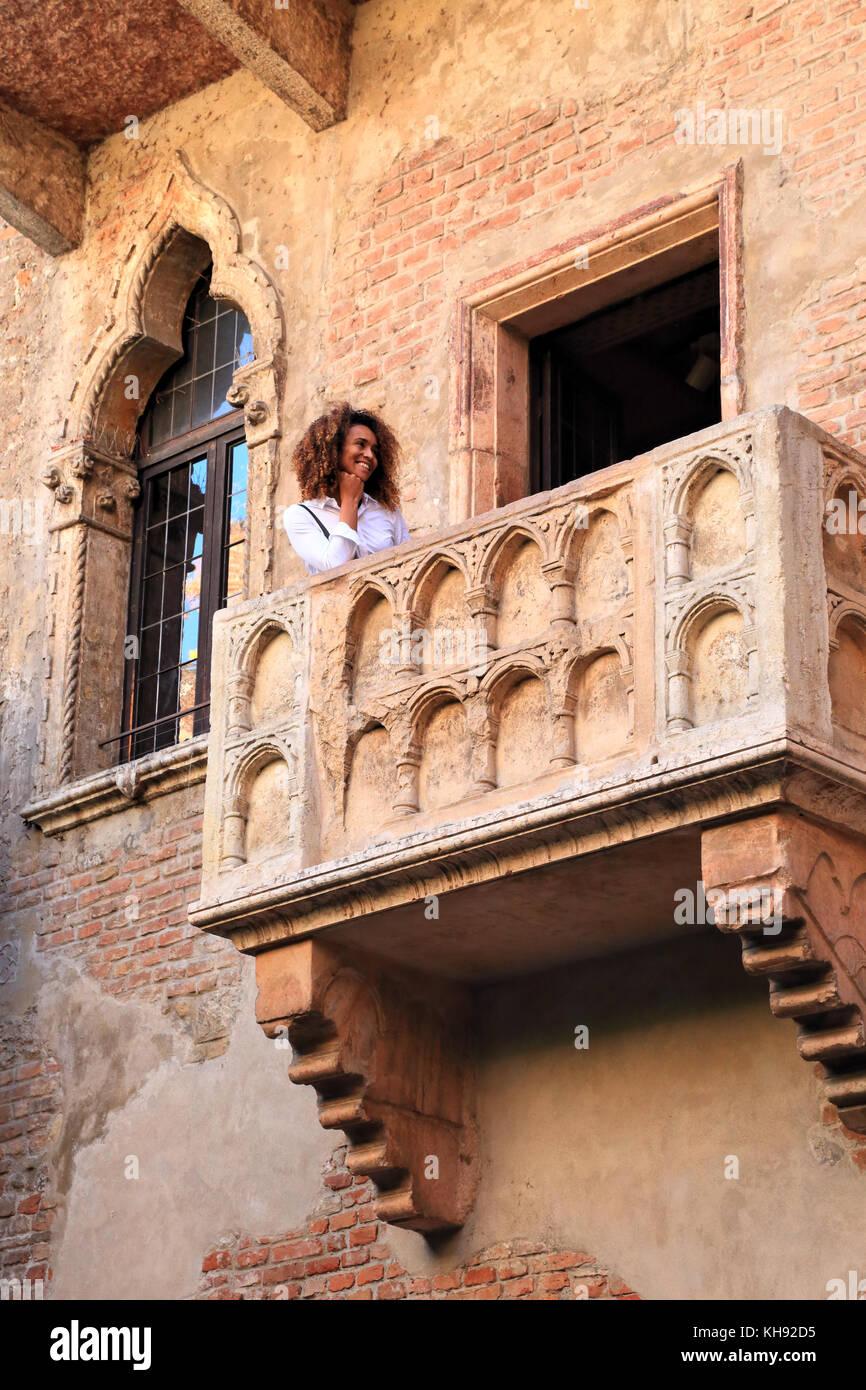 Juliet's Balcony. House of Romeo and Juliet, Verona Stock Photo