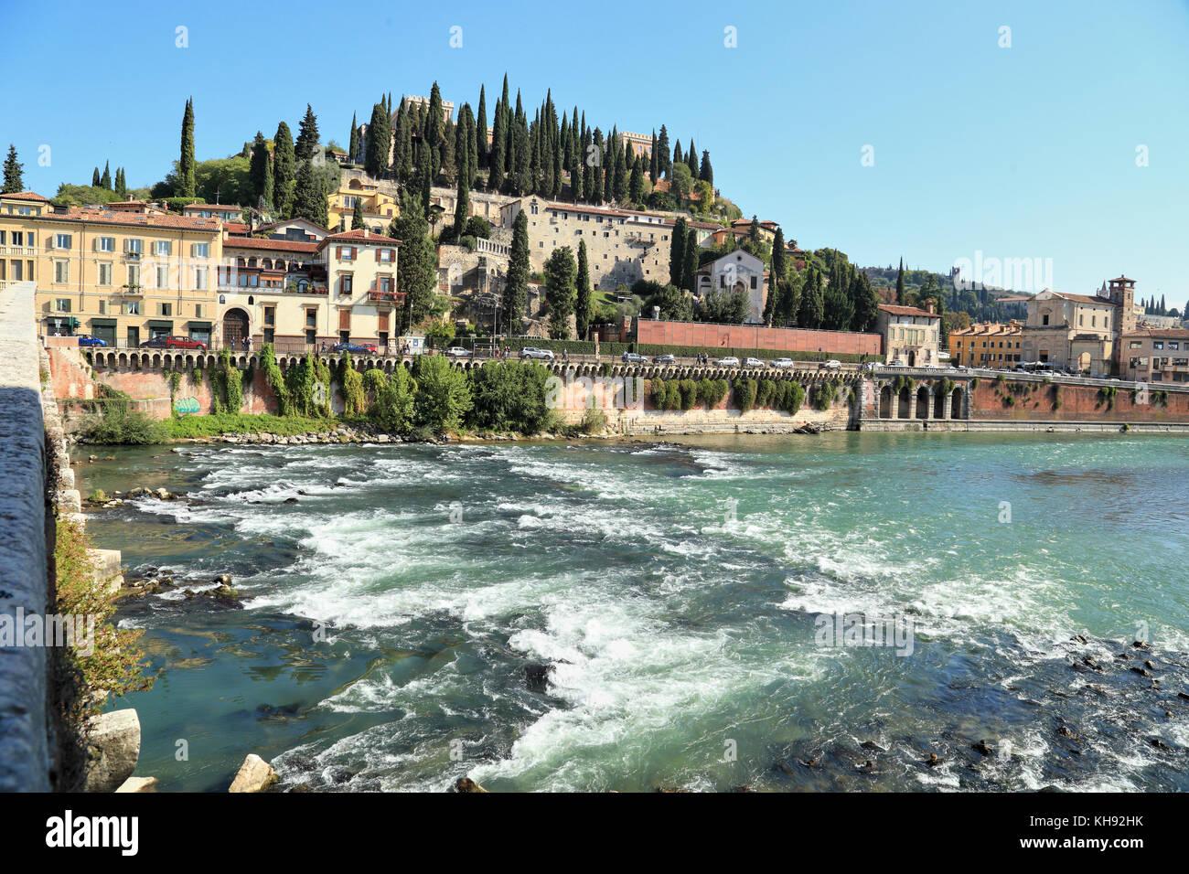 River Adige, Castel San Pietro, Verona. Saint Peter's Hill - Colle San Pietro - Stock Image