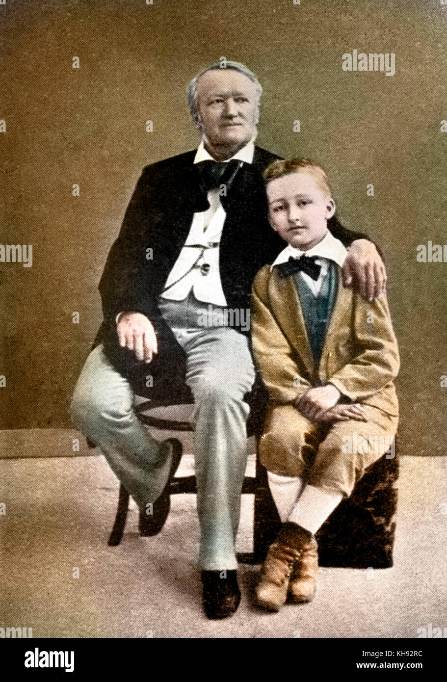 Richard Wagner with his son Siegfried as a young boy. RW: German composer & author, 22 May 1813 - 13 February 1883. Stock Photo