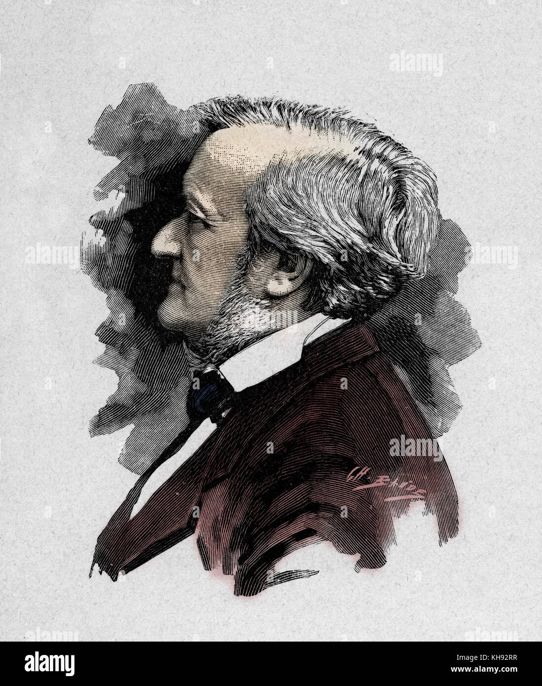 Richard Wagner -  engraving by Baude after photograph by Elliot et Frey, 1877.  RW: German composer & author, - Stock Image