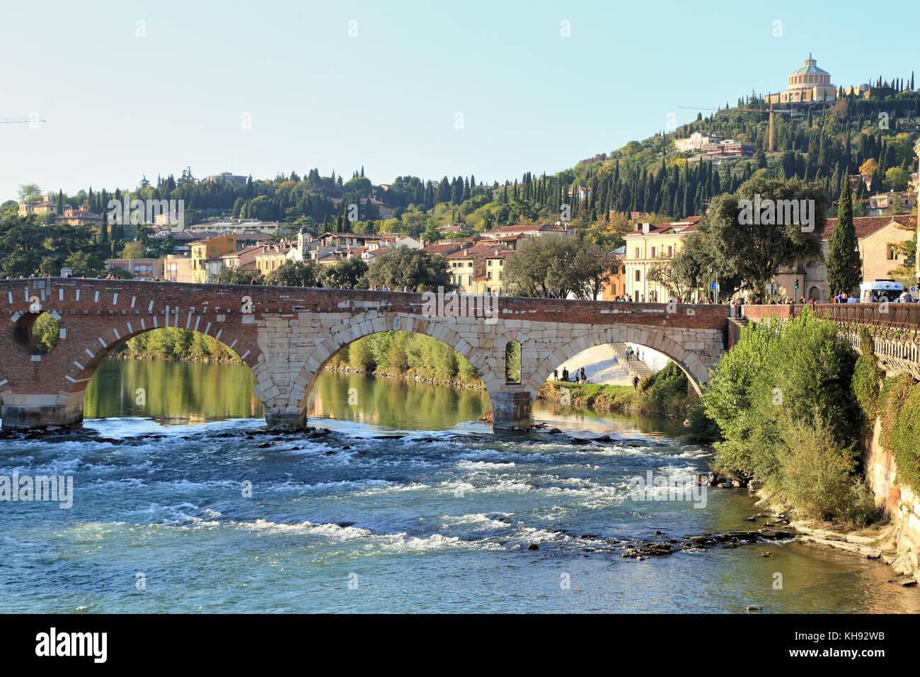Verona, Ponte Pietra bridge and River Adige, Fluss Etsch - Stock Image