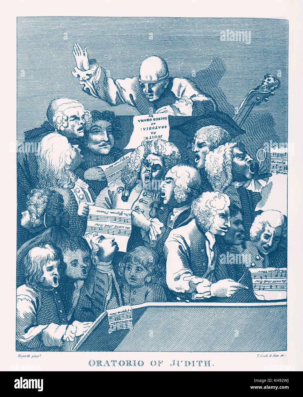 Handel's Choir / the Chorus  - in sketch by Hogarth, 1731. Singing Willem de Fesch's Oratorio, 'Judith'. - Stock Image