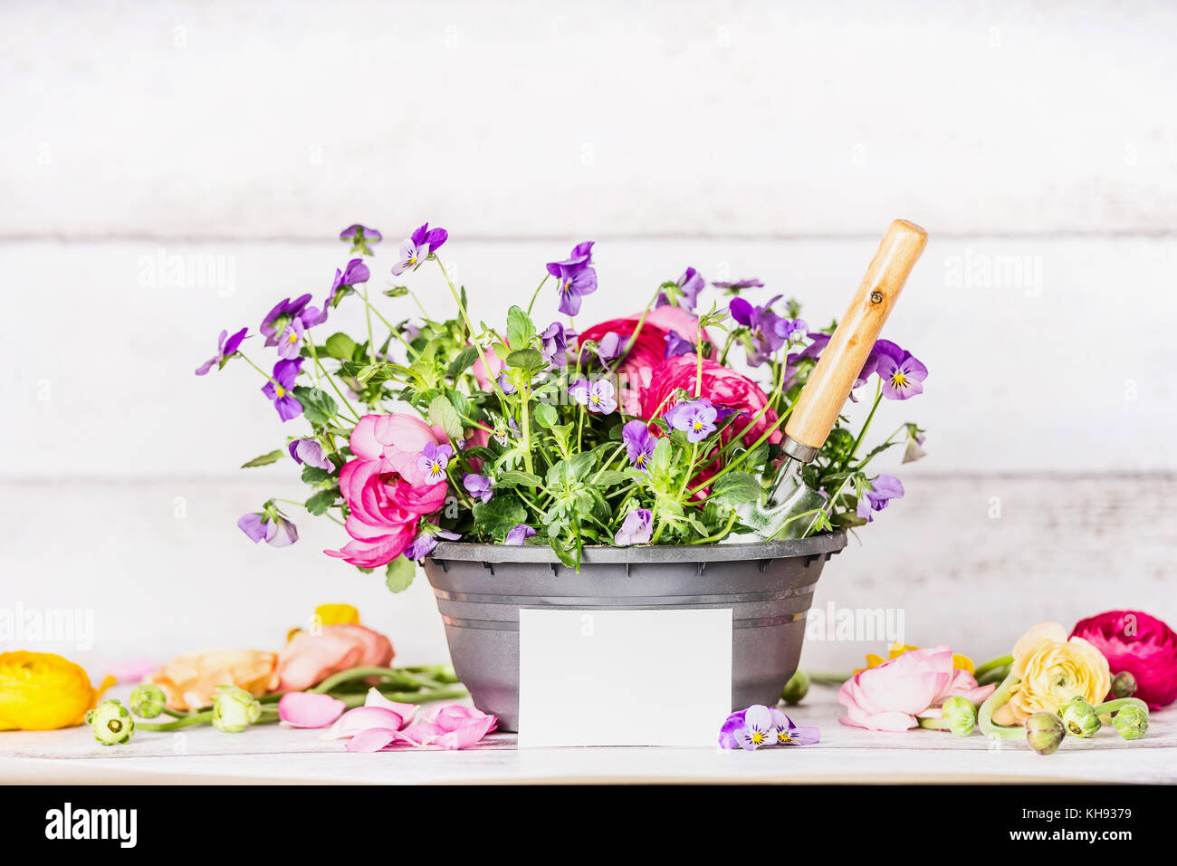 Flowers Pot With Shovel And White Paper Greeting Card On Table At