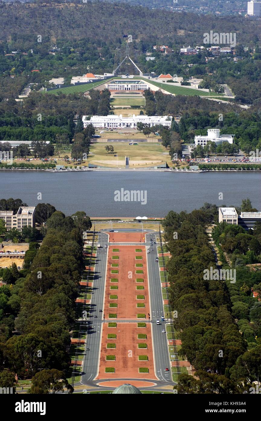 Central Canberra from Mount Ainslie, Australia - Stock Image