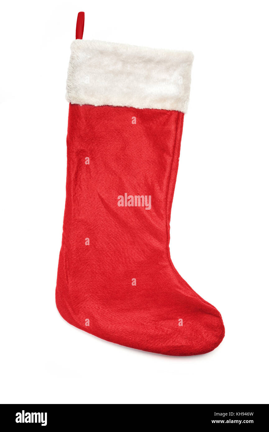 Red christmas stocking sock isolated over a white background. - Stock Image