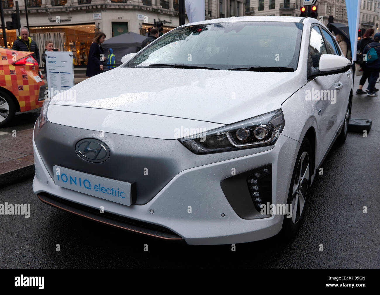 Front view of a Hyundai Ioniq Electric family-car, on display in the low-emissions zone on the Regents Street Motor - Stock Image