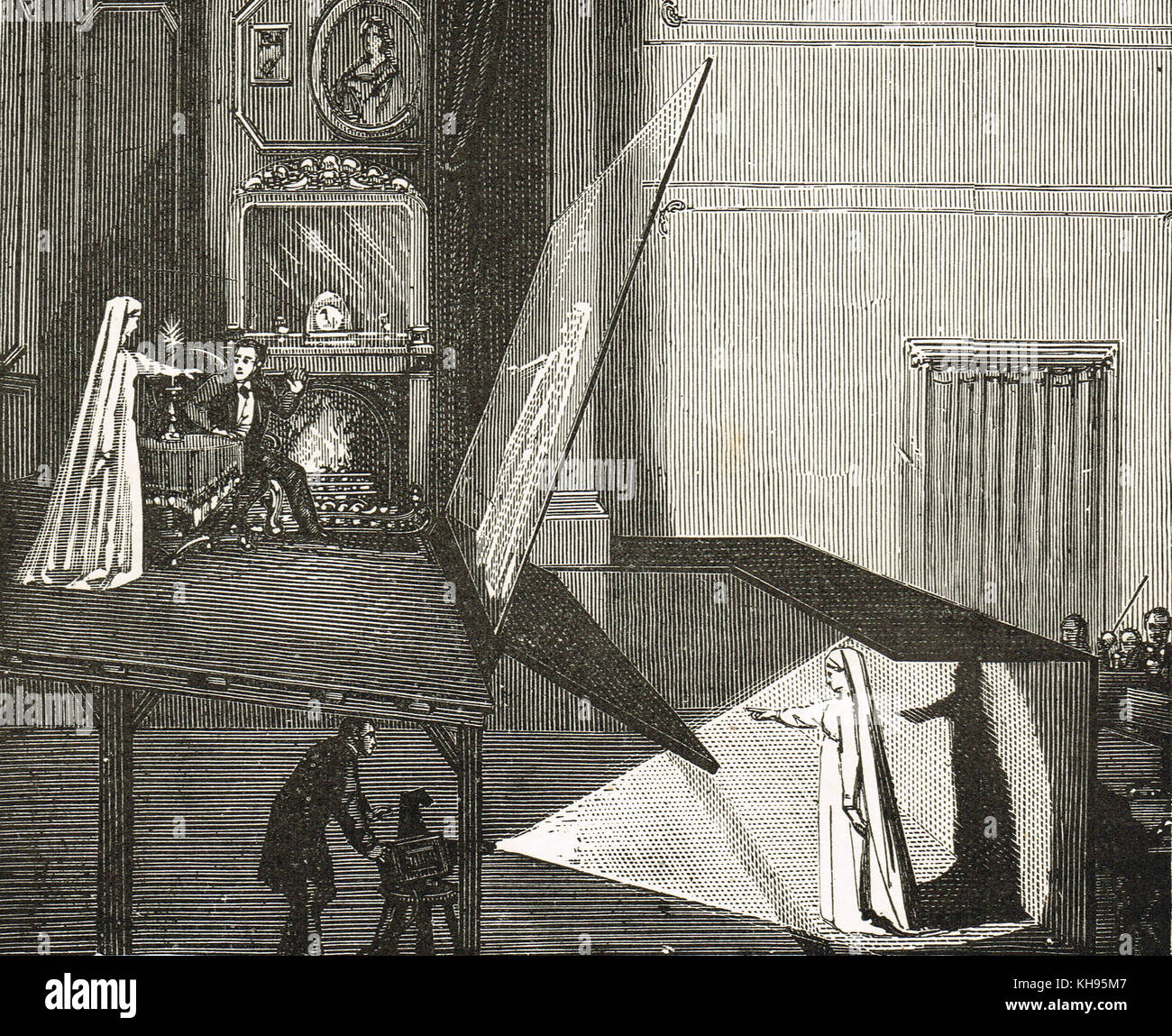 Pepper's ghost, an illusion technique used in the theatre to make a ghost appear on-stage - Stock Image