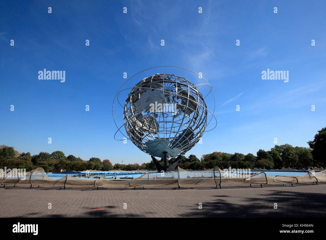 Ai Weiwei's Circle Fence at the Unisphere in Flushing Meadows Corona park, Queens, New York City - Stock Image