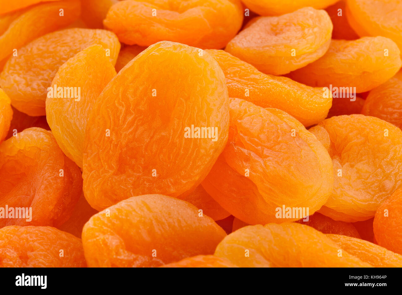 dried apricots macro closeup - Stock Image