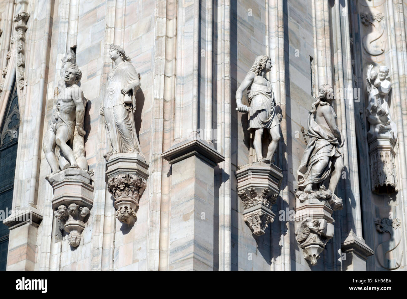 Italy. Lombardy. Milan Cathedral, Duomo di Milano, one of the largest churches in the world. Facade detail - Stock Image