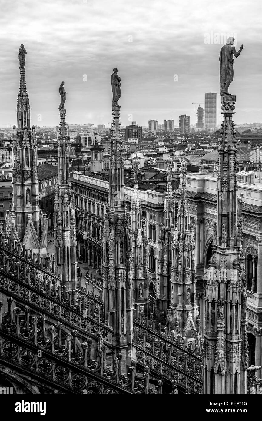 Italy. Lombardy. Milan Cathedral, Duomo di Milano, one of the largest churches in the world. Spires of the Duomo - Stock Image
