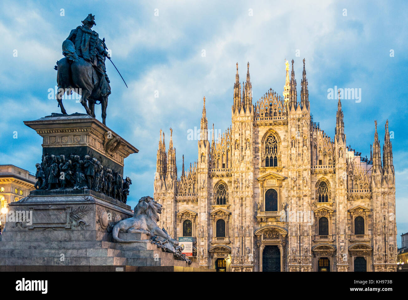 Italy. Lombardy. Milan Cathedral, Duomo di Milano, one of the largest churches in the world with the equestrian - Stock Image