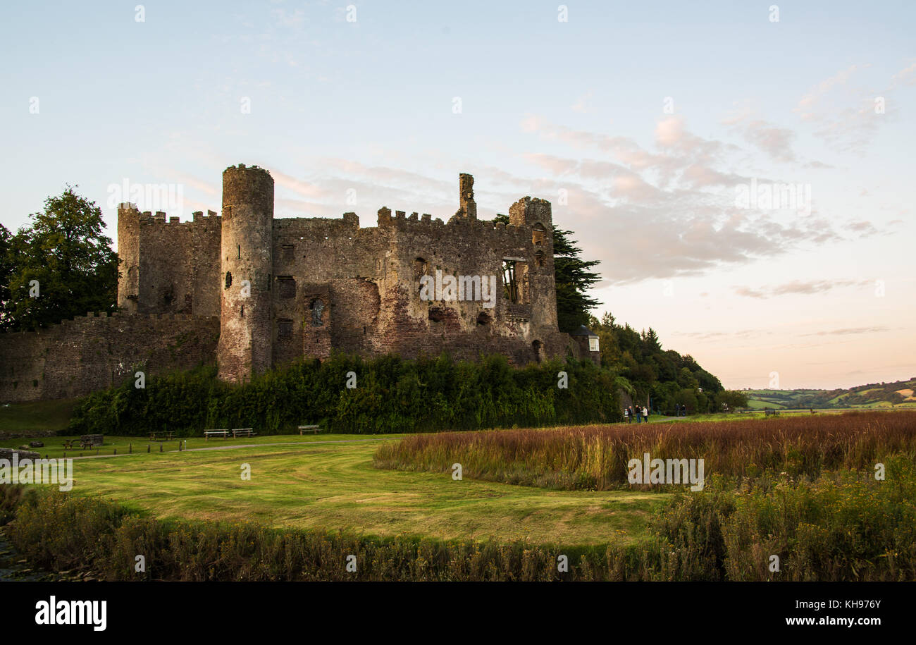 Laugharne castle Stock Photo