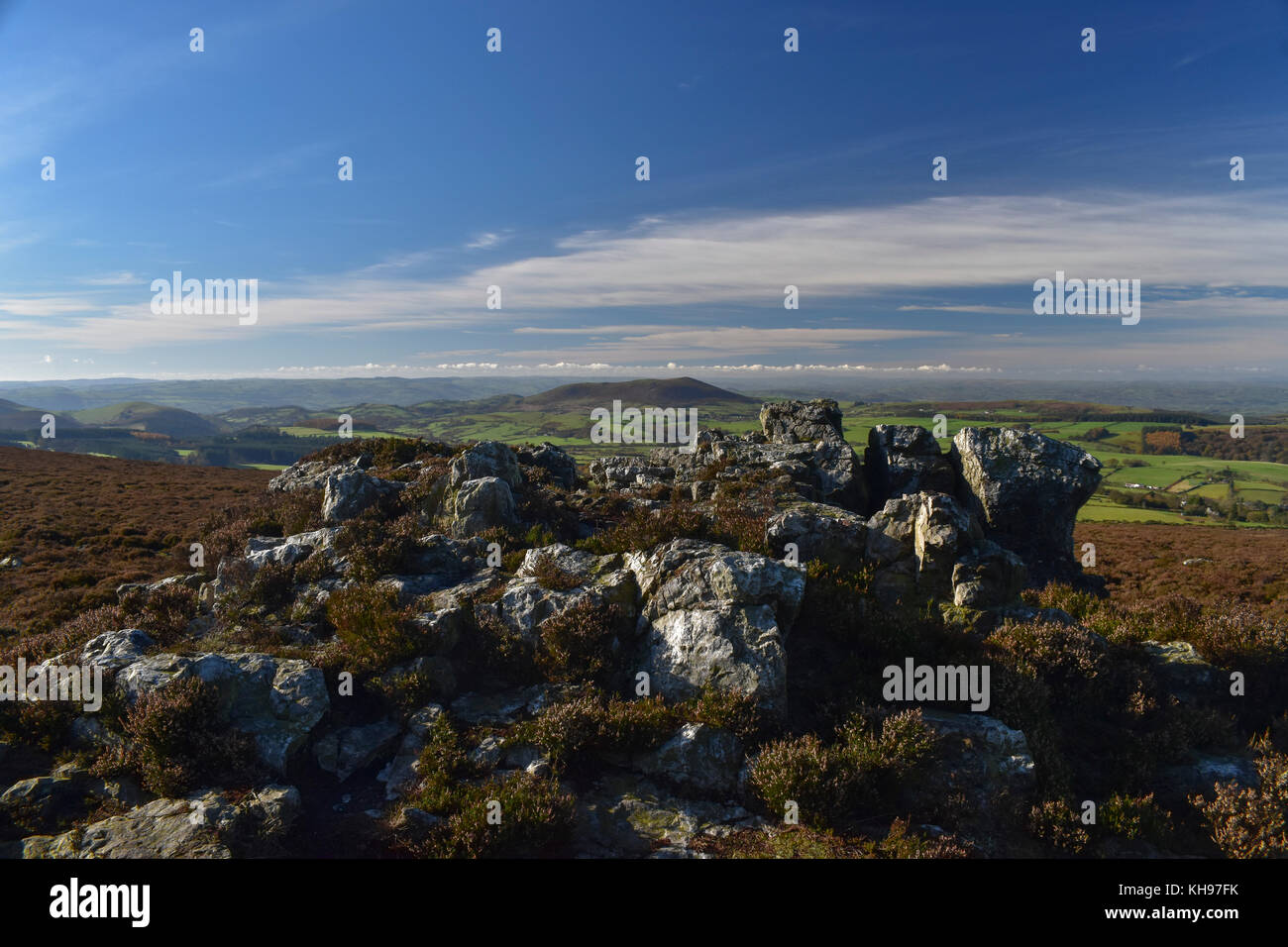 Rock formations on the Stiperstones in Shropshire, an area of outstanding natural beauty. - Stock Image