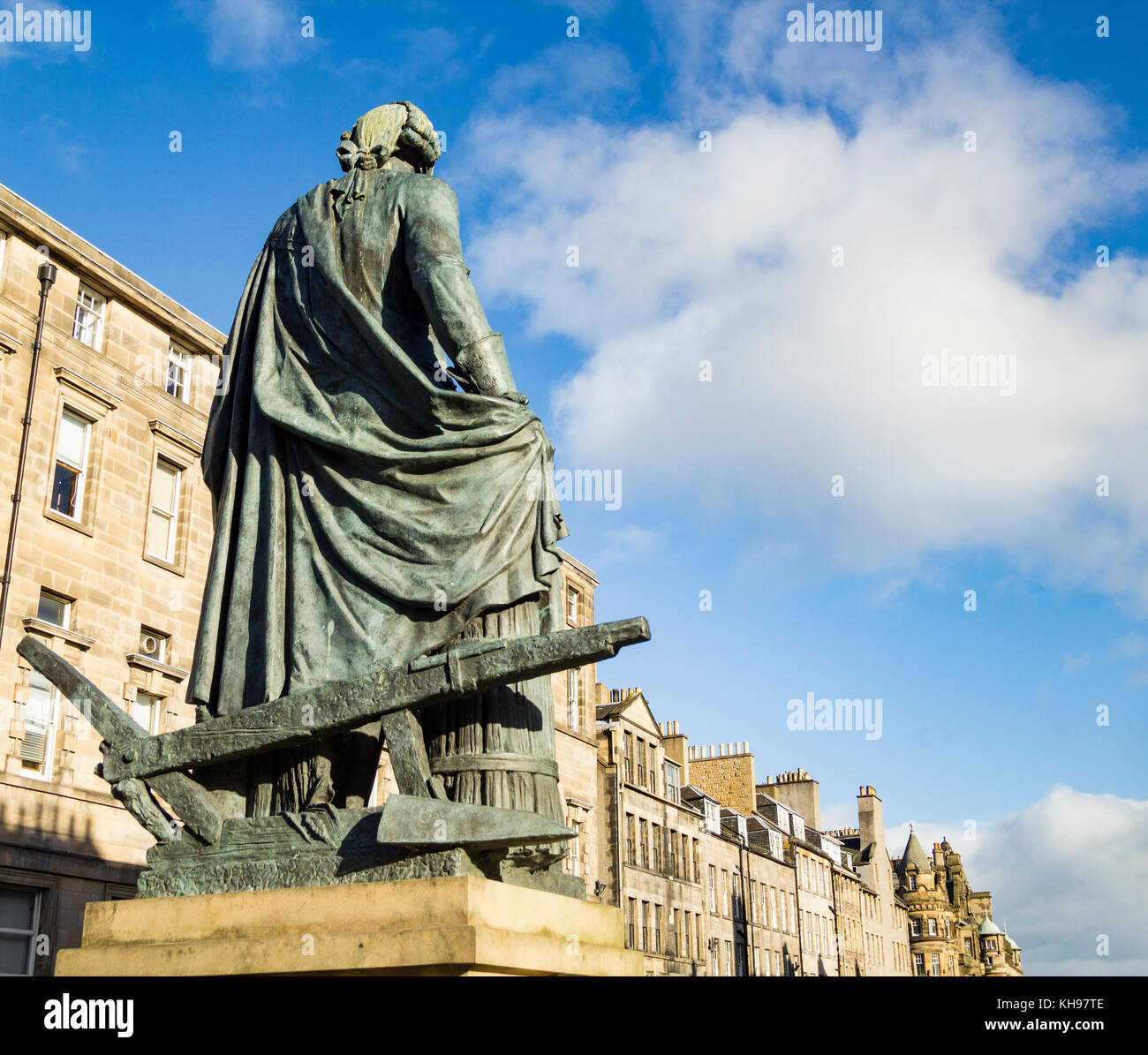 Adam Smith statue on The Royal Mile, Edinburgh, Scotland. UK - Stock Image