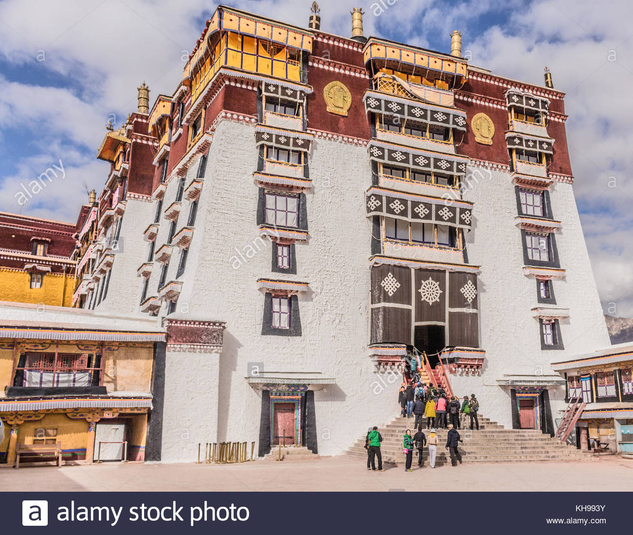 The White Palace inside the Potala Palace in Lhasa Tibet - this was the living quarters of the Dalai Lama - Stock Image