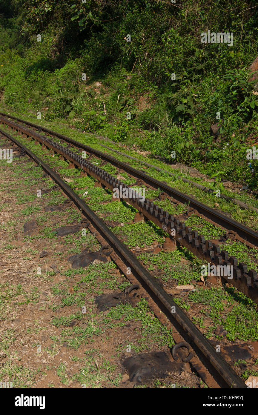 Rack Railway On The Top Of A Mountain Sunny Day Cog Tracks