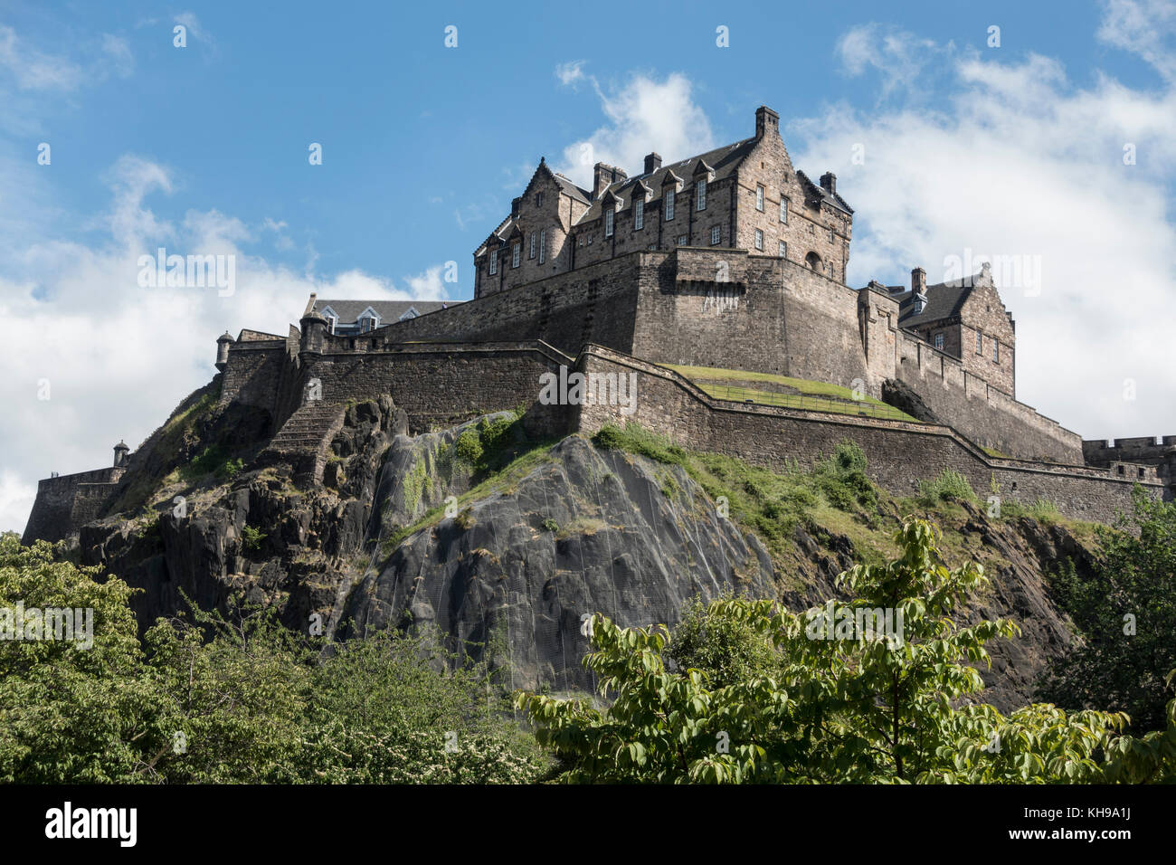 Edinburgh Castle A Fortress High On Castle Rock Edinburgh Scotland Seen From West Princes Street Gardens - Stock Image