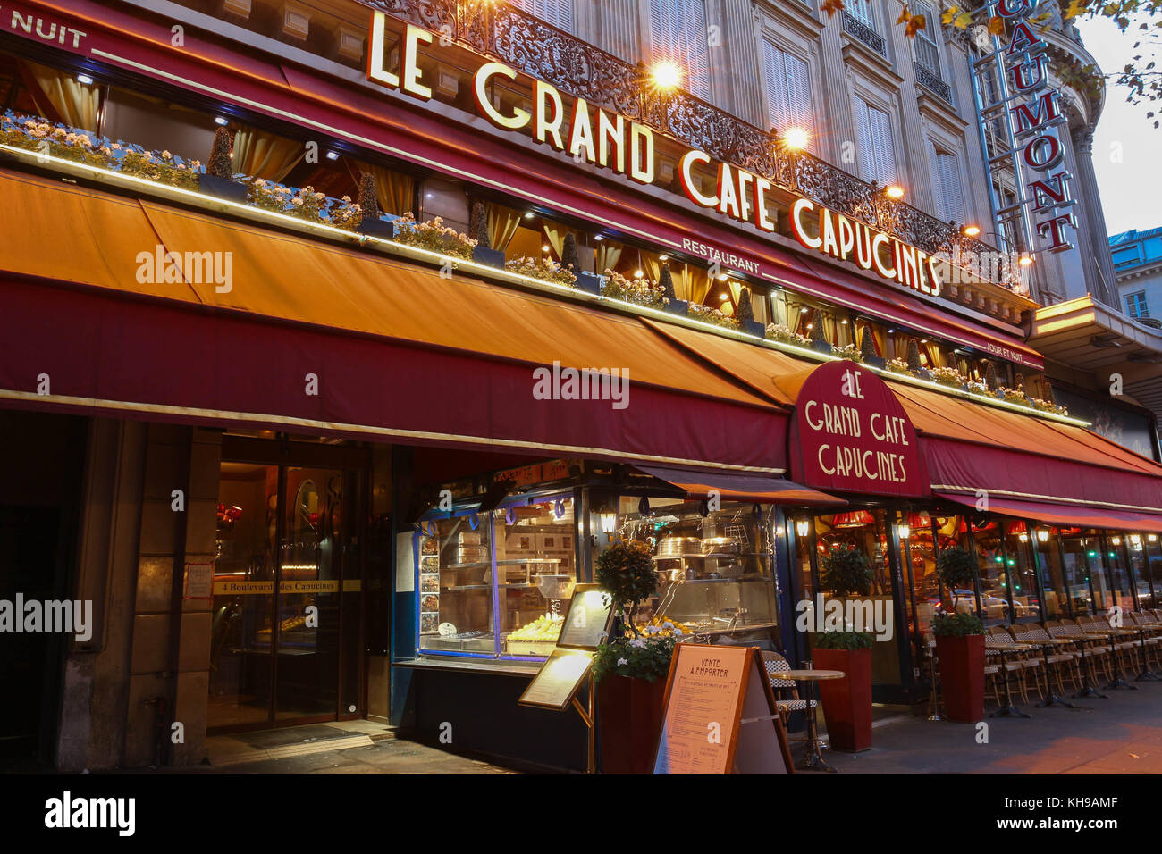 The famous cafe Capucines near Opera house, Paris, France Stock ...