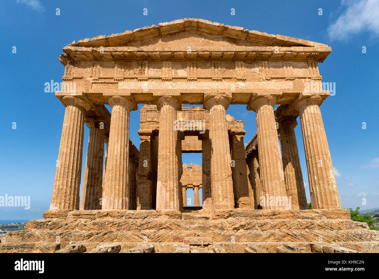 Temple of Concordia, Valley of the Temples, Agrigento, Sicily, Italy. Doric Style Greek temple, notably the UNESCO Stock Photo