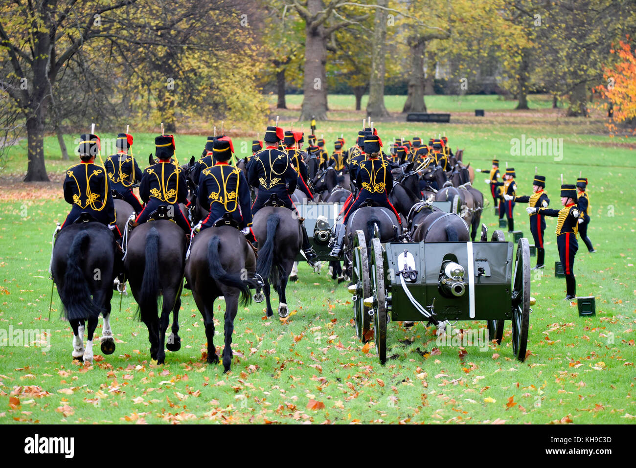 King's Troop Royal Horse Artillery in Green Park London for a 41 gun salute for Prince of Wales 69th birthday. - Stock Image