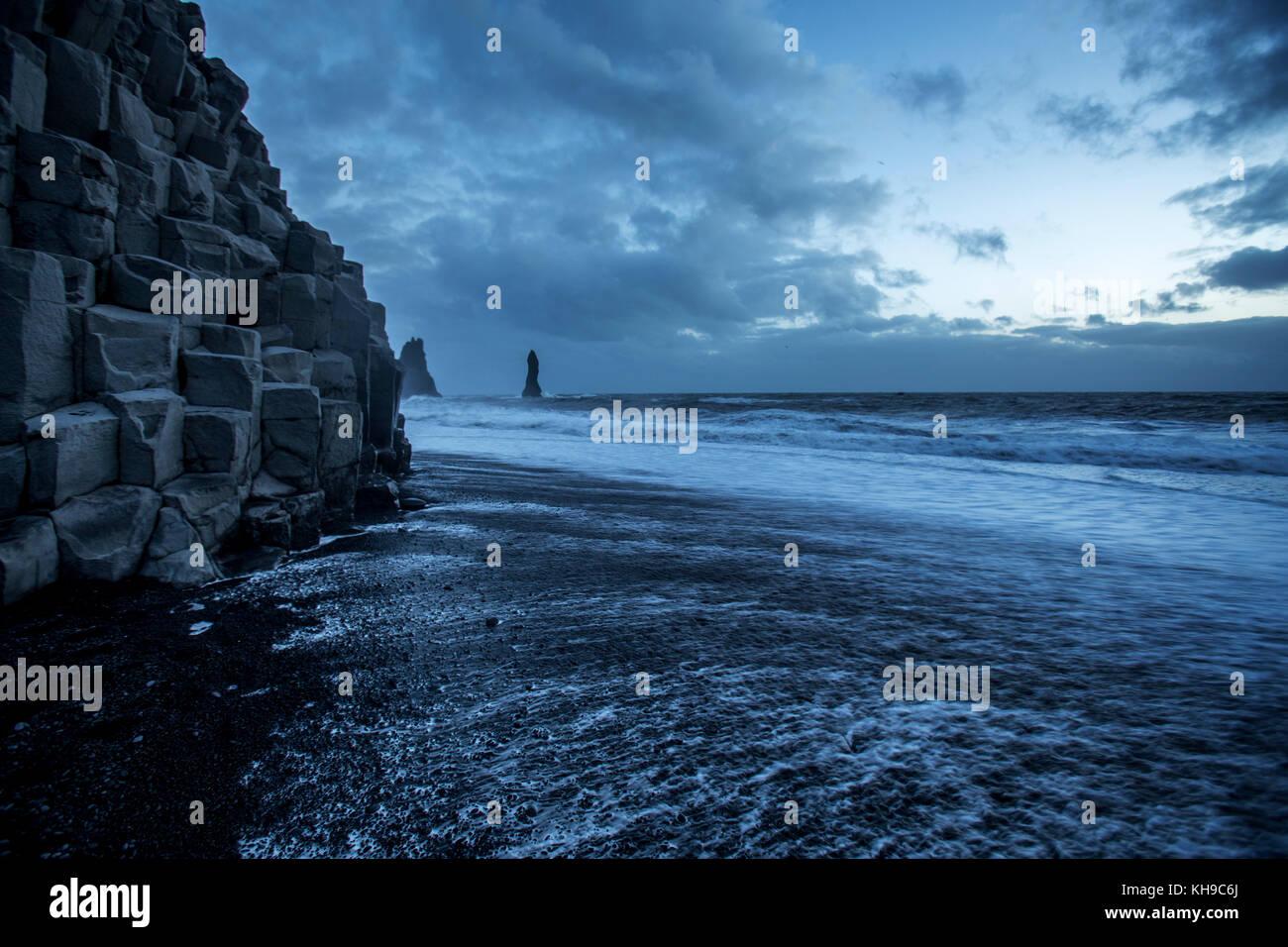 Reynisfjara black beach on the south coast of Iceland - Stock Image
