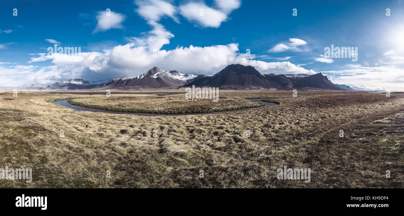 Panorama of a beautiful morning in Iceland - Stock Image