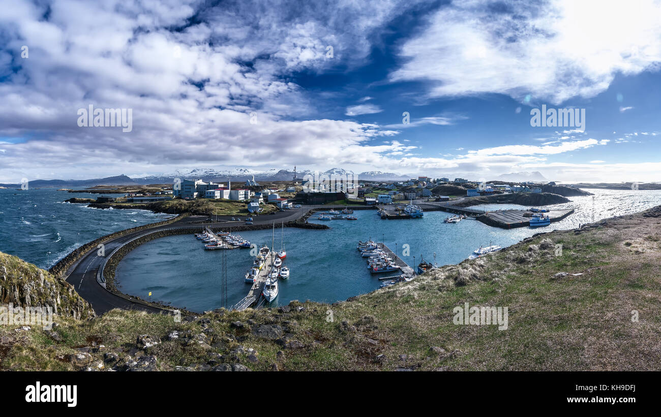 Panoramic of Stykkisholmur on a beautiful day, Snaefellsnes Peninsula, Iceland - Stock Image