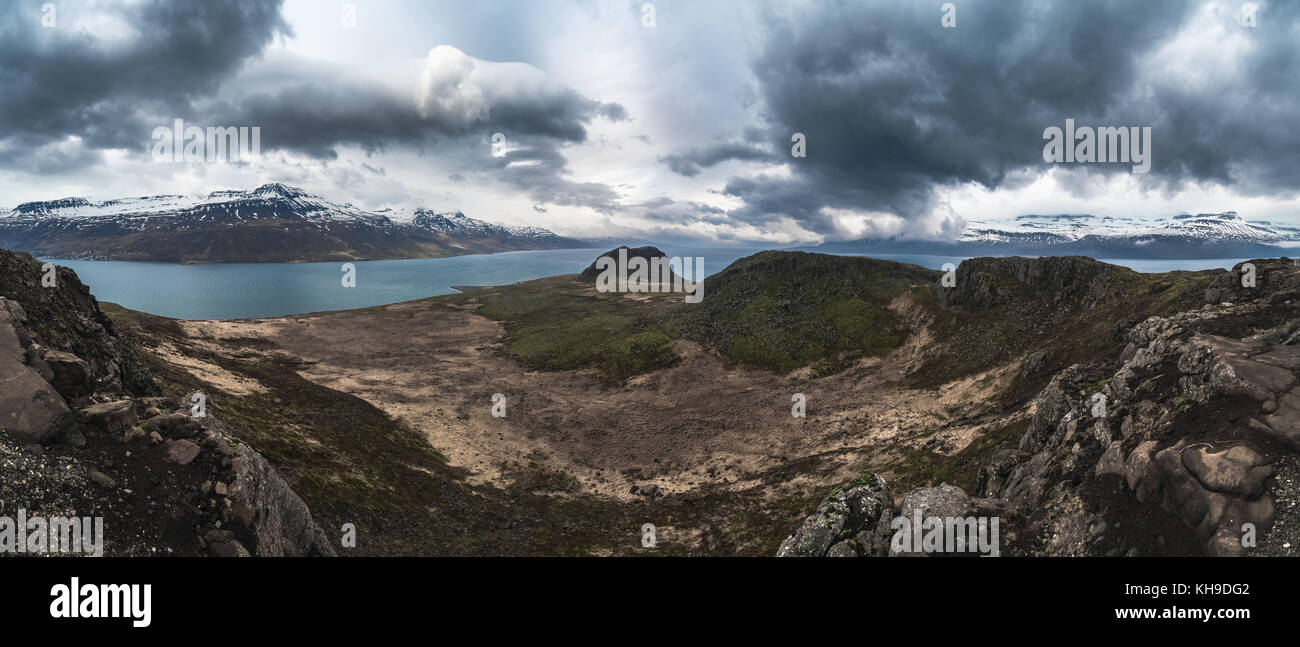 Dramatic panorama of Holmanes peninsula, Reydarfjordur, East Fjords, Iceland - Stock Image