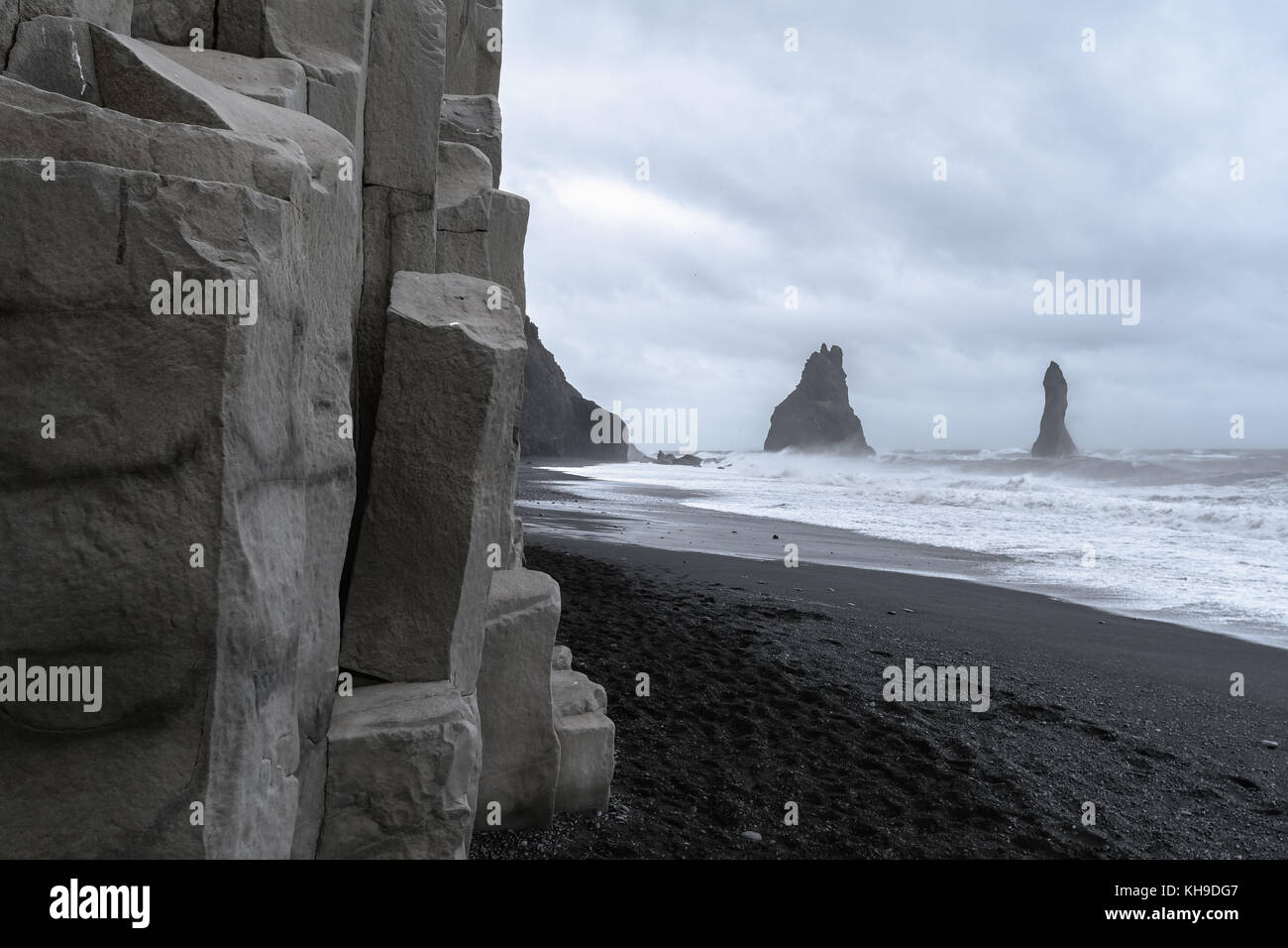 Stormy day along Reynisfjara Beach near Vik, South Iceland Stock Photo