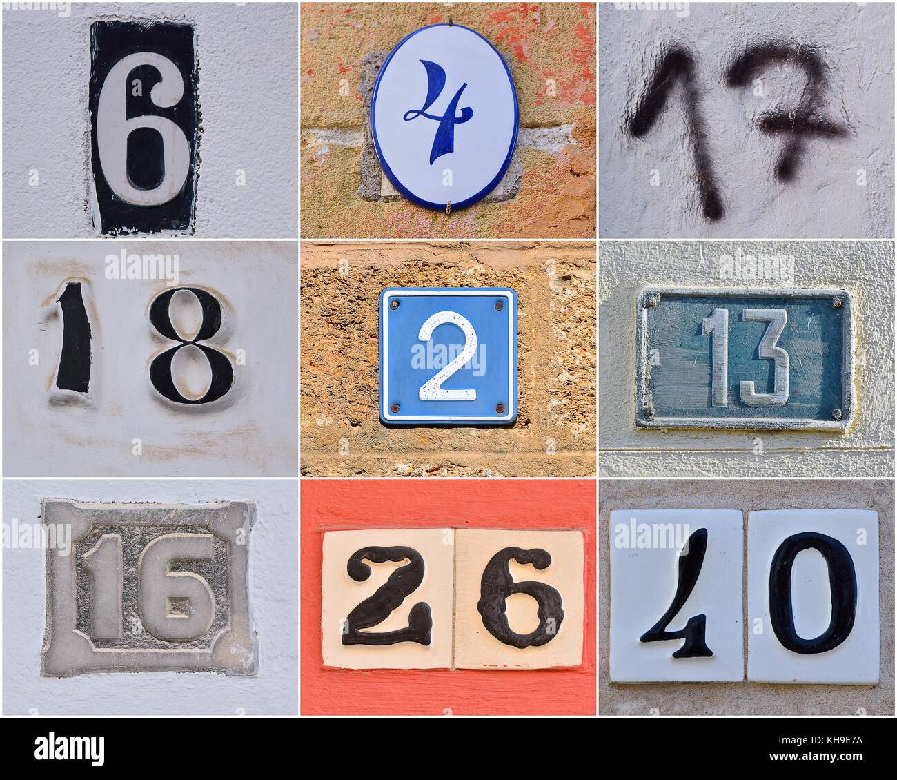 House numbers stock photos house numbers stock images alamy different house numbers on walls stock image dailygadgetfo Image collections