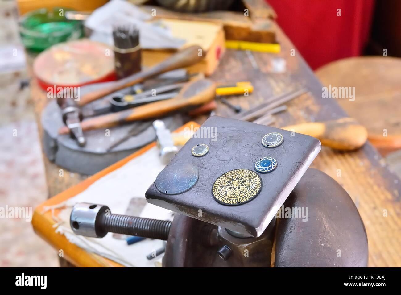 Damascene work craftsman workshop in Toledo, Spain. - Stock Image