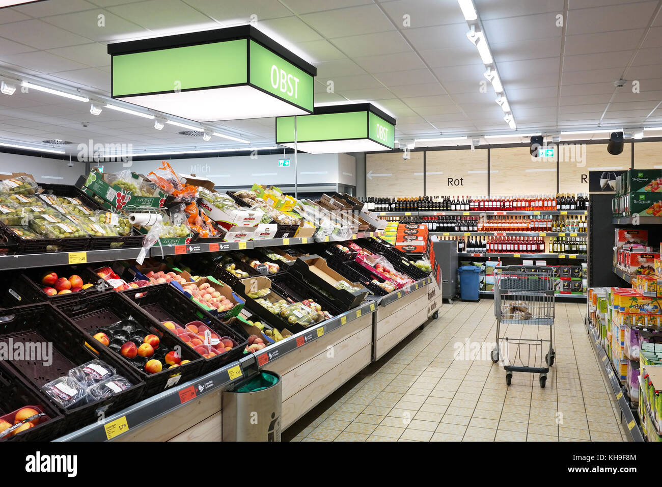Interior of an Aldi Sud discount supermarket - Stock Image