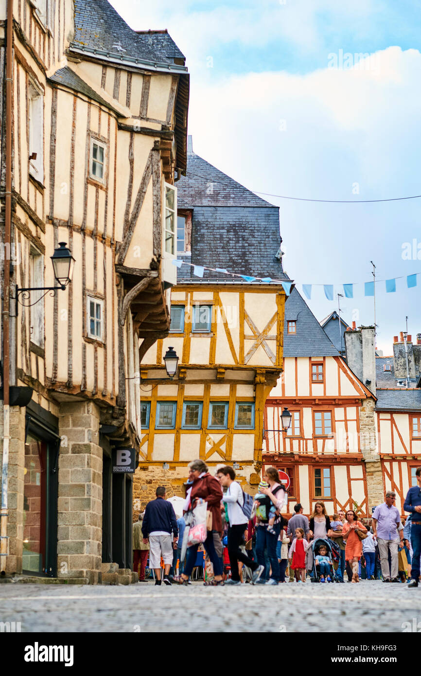 A shopping street in the medieval town of Vannes Morbihan Brittany France. - Stock Image