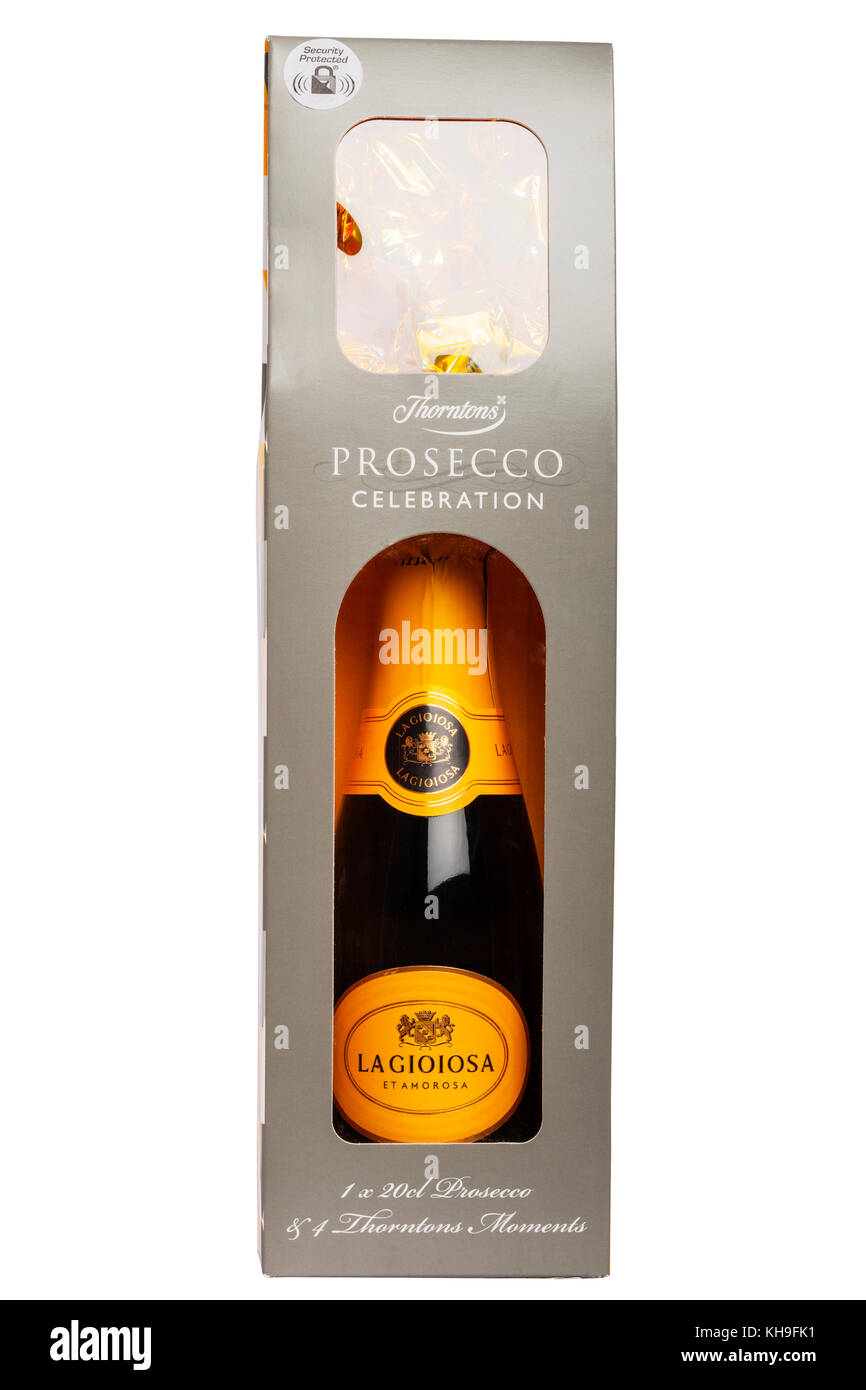A Thorntons celebration Prosecco gift set including chocolates on a white background - Stock Image