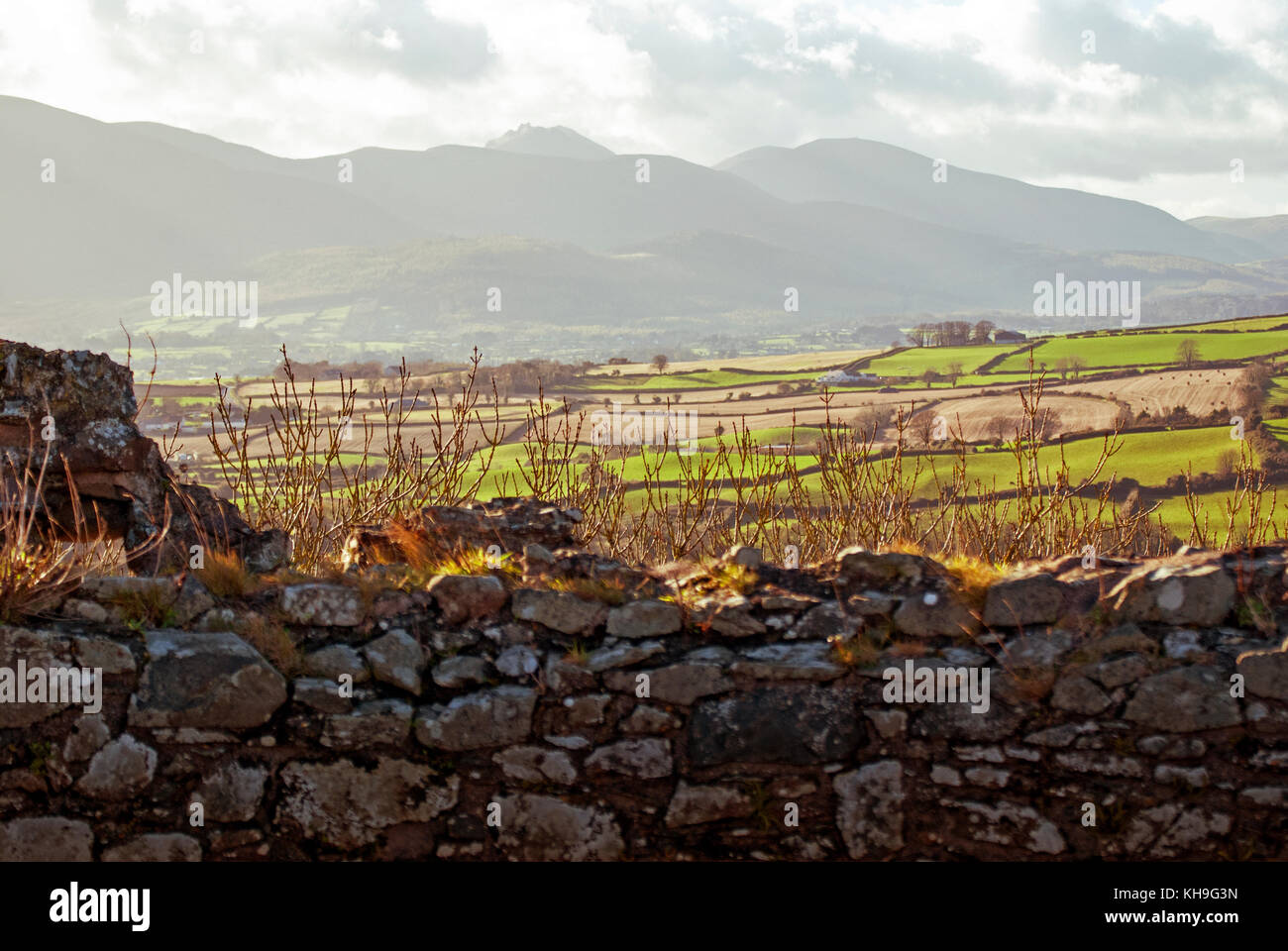 DUNDRUM - NORTHERN IRELAND - NOVEMBER 11, 2017 - A view from Dundrum Castle ruins. Situated above the town of Dundrum - Stock Image
