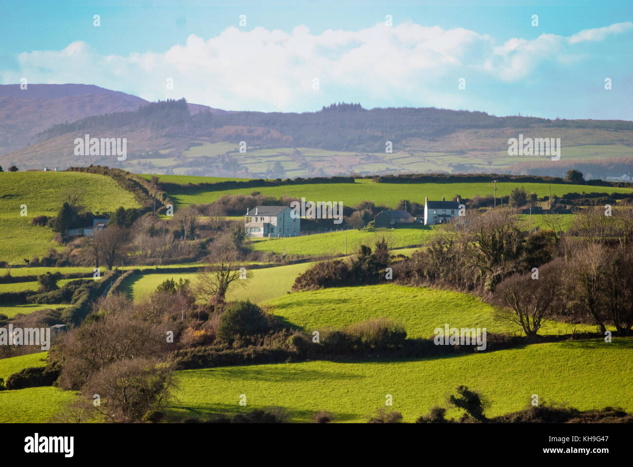 DUNDRUM - NORTHERN IRELAND - NOVEMBER 11, 2017 - A view from Dundrum Castle ruins. Situated above the town of Dundrum Stock Photo