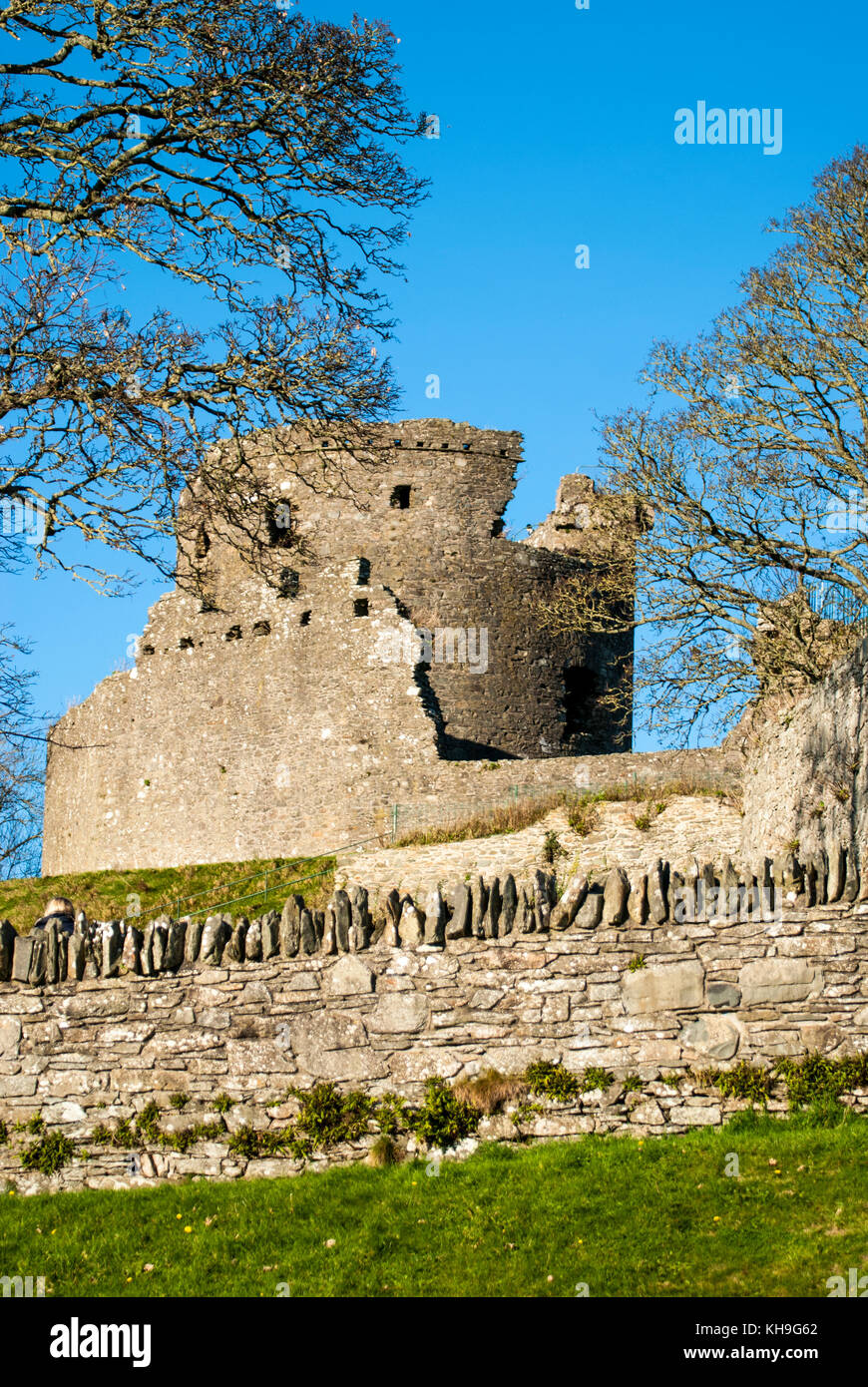 DUNDRUM - NORTHERN IRELAND - NOVEMBER 11, 2017 - Dundrum Castle ruins. Situated above the town of Dundrum, County - Stock Image