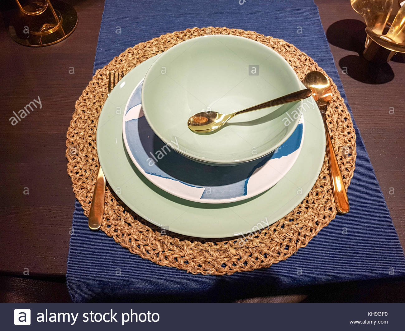 Festive tableware setting - Stock Image & Blue Silver Christmas Dinner Table Stock Photos u0026 Blue Silver ...